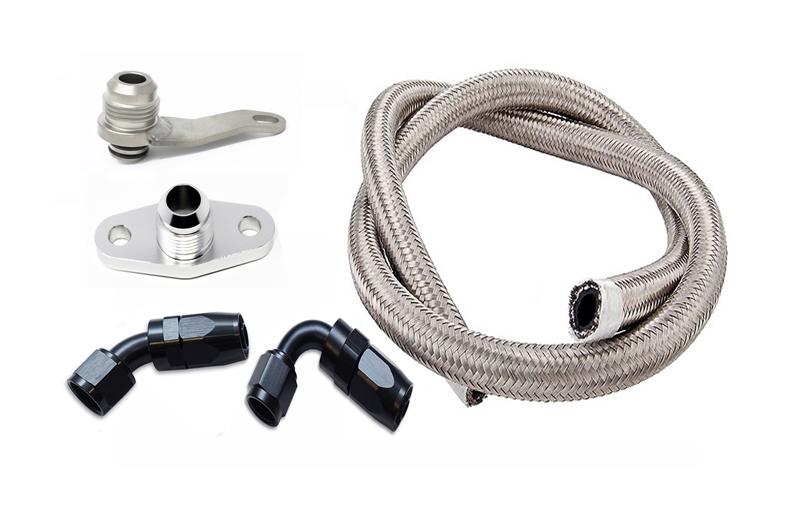 Torque Solution -10AN Turbo Oil Return Line Kit: Subaru EJ All Years